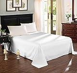 WOLTU BW5001ws, Tagesdecke Bettüberwurf Sofaüberwurf, Betttuch Bettlaken ohne Gummizug, Decken Überwurf Plaid, 100% Baumwolle, 150X240 cm, Weiß
