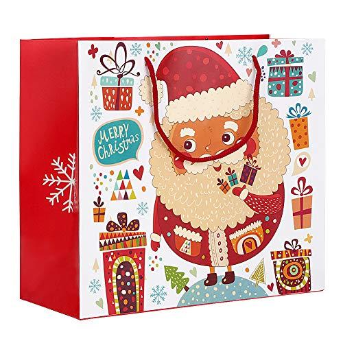 Fdit Geschenk Taschen Heiligabend Geschenk Taschen Druck Weihnachtsmann Papier Beutel zu Geschenk-Wrap mit Hand Seil für Süßigkeiten kleine Geschenke 1ST(L 30 * 27 * 12cm-#3) -