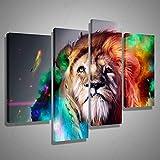TheresaWFlory 4 Panel Wandkunst Malerei Bunte Lion Künstlerische Wandkunst Malerei Das Bild Drucken auf Leinwand Tierbilder Für Heimtextilien, groß