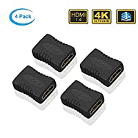 ELUTENG HDMI Joiner Female to Female 4K@30Hz 3D Video Adapter 1.4 HDMI Coupler 4 Pack HDMI Connector for PC/Laptop/TV Box/PS4/Blu-Ray DVD Player/HDTV/Monitor