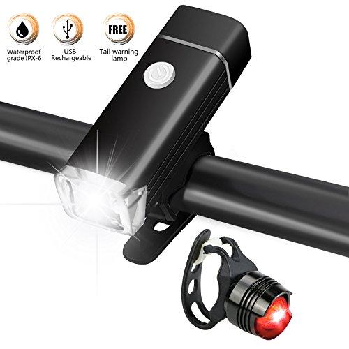 LED Fahrradbeleuchtung Set, Gifort USB Wasserdicht Wiederaufladbare CREE LED Fahrradlicht Set, Fahrradlampe Set inkl, LED Frontlichter Frontlich und Rücklicht mit abnehmbarer Schnalle und Rücklicht