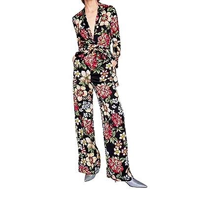 VENMO Damen Sexy Blumendruck Jumpsuits Damen Bodysuit Condole Sportclubwear Partei-Verband Lange Jumpsuits Deep-V Playsuit Schlank Langarm Pullover Siamesischer Overall + Gürtel Langarm-Overall von VENMO bei Outdoor Shop