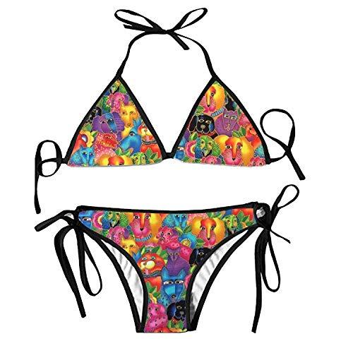 Women's Bathing Swimsuits Adjustable Strap Dog Puppies Bikini Set Two Pieces Swimwear