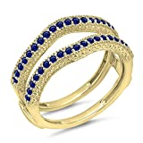 DazzlingRock Collection Damen 0,45 Karat Gold 14K Blauer Saphir Diamant Ehering Millgrain Schützen Doppel-Ring 1/2 Ct 9