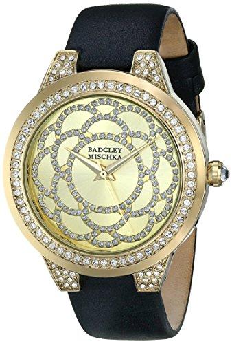 badgley-mischka-pour-femme-ba-1330chbk-tons-or-cristal-de-swarovski-accentue-et-bracelet-cuir-noir-w