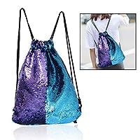 Xrten Reversible Glittering Mermaid Sequins Backpack, Glitter Drawstring Shining Shoulder Bag for Women Girls Teens