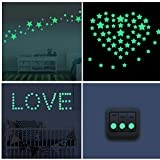 8 Set Stelle e 1 Luna Adesivi Fluorescenti Sticker Adesivi da Parete Luminescenti Adesivi Murali Wall Stickers Removibili Decorazione Murale Casa Camera da Letto Cameretta Bimba Cadenti per un Cielo Stellato