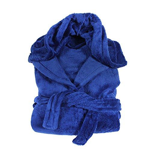 Flauschiger Bademantel Morgenmantel mit Kapuze Seitentaschen Microfaser Fleece Unisex, Präzise Farbe:schneeweiss(49009), Wäschegröße:M royalblau(49009)