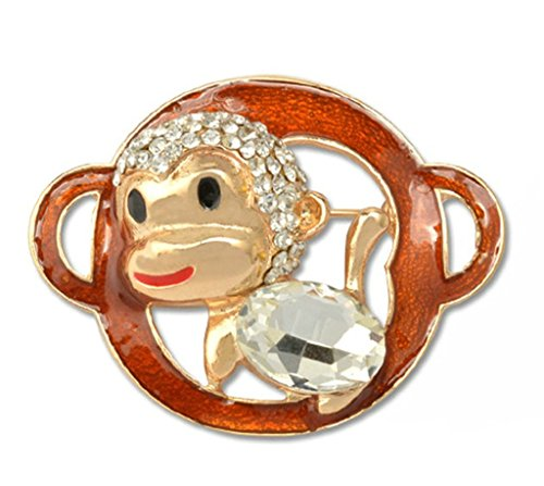 Epinki Unisex Brosche, Edelstahl Tierkreis Form Broschen Pin Abschlussball Anstecknadel Hochzeit Pins Orange Silber (Auge Rosenkranz Pins)