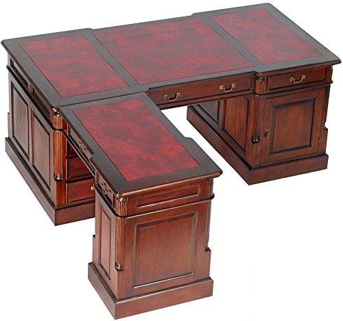 MOREKO Schreibtisch Antik-Stil Massiv-Holz Partnerdesk Mahagoni Eckschreibtisch Schreibeinlage rot - Stil Mahagoni Schreibtisch