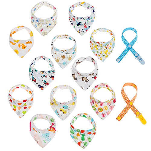 Lictin 12 PCS Unisexe Bavoirs Bandana Bébés et 2 PCS Attaches Sucettes, pour les Bébés de 6 Mois à 3 Ans Multicolore