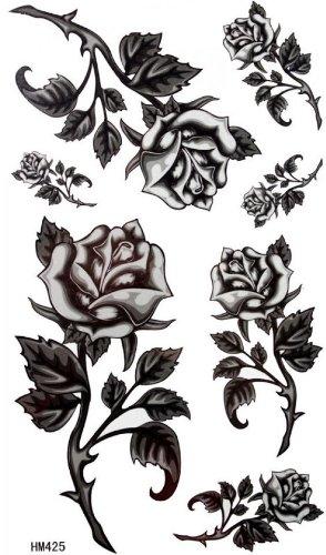 Roses noires barbelés femmes faux tatouages étanches
