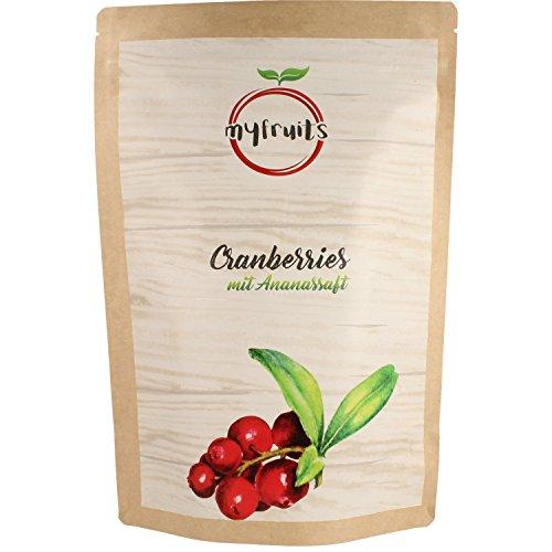 myfruits Cranberries – getrocknet, mit Ananassaft, ohne zusätzlichen Zucker. Perfekt für Müsli, Joghurt oder Salate, reich an Vitaminen und Mineralien. Abgefüllt in Deutschland