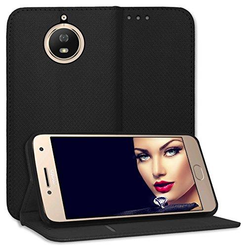 mtb more energy Schutz-Tasche Bookstyle für Motorola Moto G5S (XT1794, 5.2'') | schwarz | Kunstleder | Klapp-Cover Hülle Case