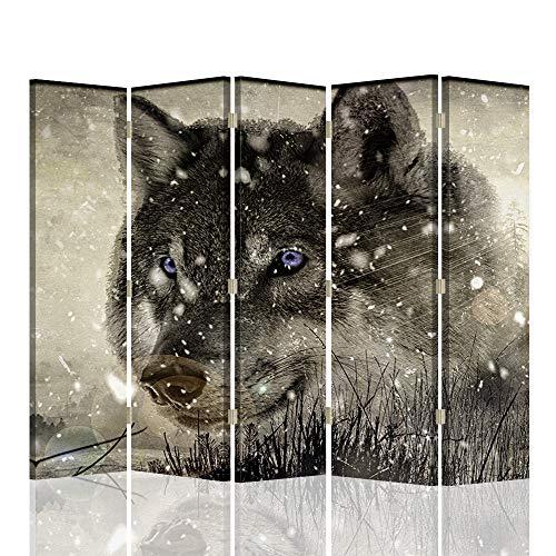 F FEEBY WALL DECOR Trennwand Spanische Wand Wolfskopf Paravent 5-teilig 360 Grad Grau 180x175 cm
