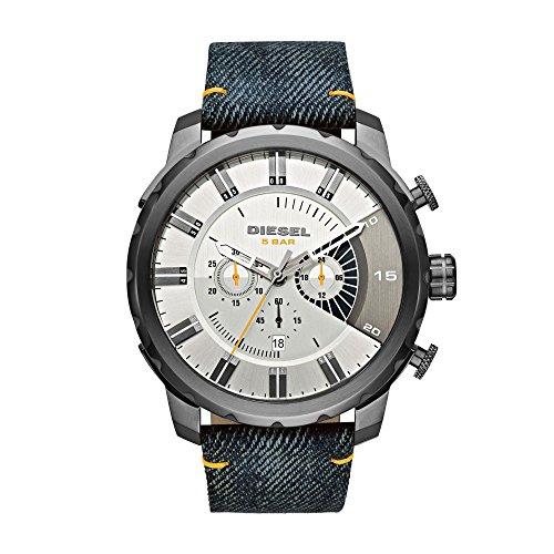 DIESEL DZ4345 strong hold cronografo Orologio da uomo in pelle tessuto Denim blu