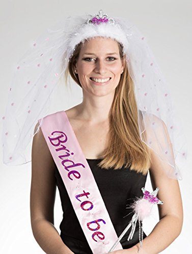 Set: Blinkende Schärpe und blinkende Tiara mit Brautschleier & Sternchen Aufschrift BRIDE-TO-BE und Zauberstab Accessoires Junggesellenabschied Junggesellinnenabschied JGA Bridal Shower