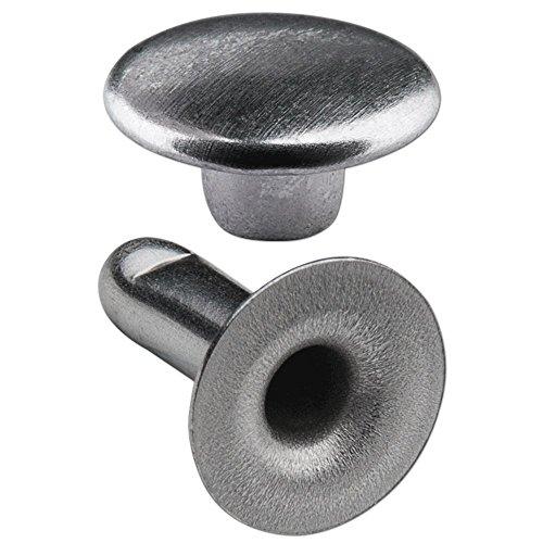 250 Doppel-Hohlnieten Nieten Ziernieten 7mm (7/8) aus Eisen (nickelhaltig), Finish: nickel-glänzend