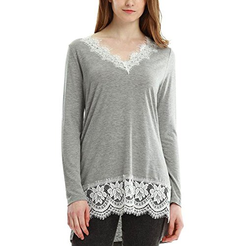 Vin beauty wlgreatsp Femmes Mode Casual V Neck Lace Top à Manches Longues Chemisier Jumper Pull T-Shirt Grey