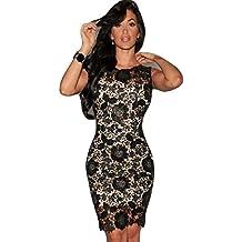 Señoras negro y beige Crochet encaje Bodycon vestido Club Wear fiesta vestido de novia madre de la novia tamaño UK 8–10EU 36–38