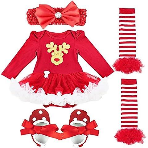 FEESHOW Mono recién nacido del bebé romper vestido con tutú ropa de los sistemas para bebé 4 piezas Trajes de Navidad