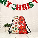 Jaminy Weihnachten Rucksack für Damen Mädchen Kordelzugbeutel Taschen Schultertasche für Outdoor Sport (D)