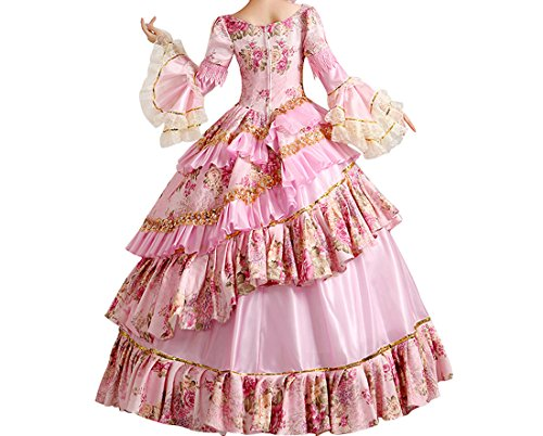 Nuoqi Femmes Satin gothique victorien princesse robe Halloween Fancy Dress Cosplay Costume CC2957C-NI