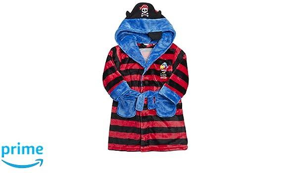 MiniKidz Boys Fleece Striped Pirate Dressing Gown Red /& Black