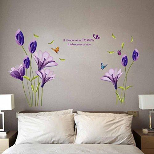"""! Wall Sticker, DDLBiz® Adesivi Murales, Carta da Pareti """" fiore viola"""" Decorazione Murali da Parete prezzo"""