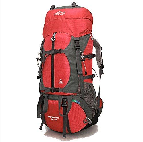Hebike grande capienza 65L zaino sport outdoor escursionismo arrampicata corsa campeggio alpinismo viaggio zaino antipioggia borsa a tracolla, Blue Red