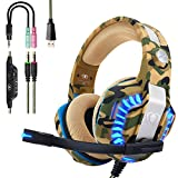Beexcellent Casque PS4 Gaming,Casque Gamer Professionnel Audio Stéréo avec Micro à Réduction du Bruit 3.5mm Jack Over Ear Comfortable avec Lumière LED pour Xbox One PC Laptop Tablette...