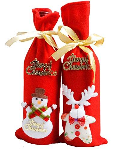 2PCS Christmas Wine Bottle Cover Bags Xmas Snowman Deer Pattern Bottle Wrap Party Festival Decors