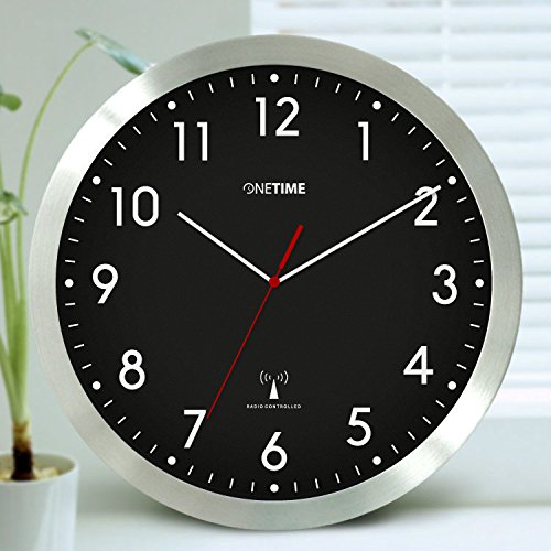 Preisvergleich Produktbild ONETIME MNU 3300 Schwarze Funkwanduhr 12 Zoll (Ø) 30,5 cm mit nahezu lautlosem Sweep Uhrwerk