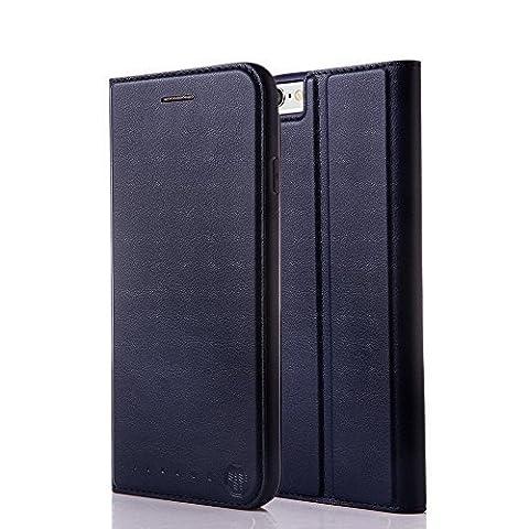 Nouske étui Folio en cuir pour Apple iPhone 6 Plus / 6s Plus, Cover Coque TPU Porte cartes avec Support Protection intégrale, Bleu Marin