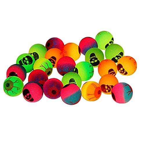Toy Cubby Federnd Gummibälle mit Google Auge und Skelett Gesicht Sets von 25 Verschiedenen Farben und Größen von Creepy Super Bounce Ball Parteibevorzugungen 25 Zählung