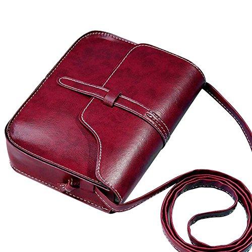 Kleine Damentasche Umhängetasche Leder Quadratische Mini Kette Handtasche Damen Henkeltasche Messenger Bag (Rot) (Bag Mini-messenger Rote)