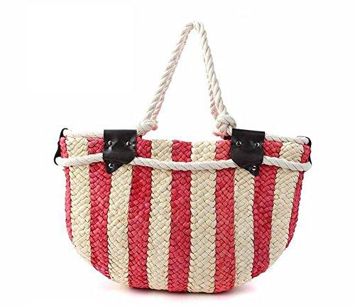 Spalla Stripes Straw Bag Tessuto Colore Donne Cotone Thread Knitting Tempo libero Estate Tote Beach Tote , blue red