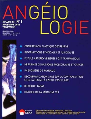 Angéiologie, Volume 65 N° 3, Novembre 2013 :