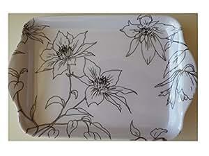Blanc avec fleurs Noir Cuisine Plateau Snack Plateau à cake en mélamine