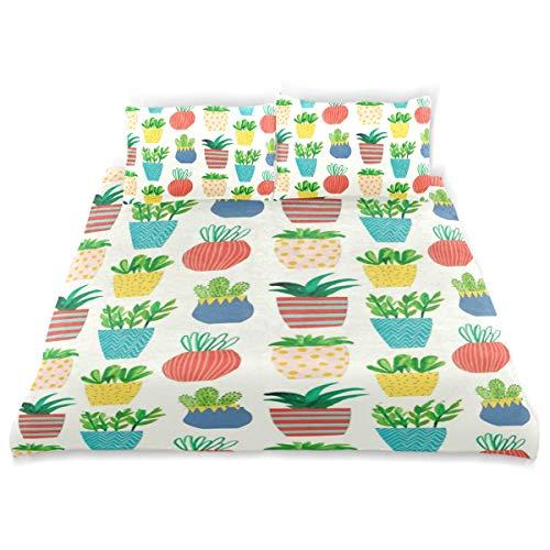 Vipsa Bettwäsche Set Topfpflanzen Muster 3-teilig Bettwäsche Set 100% Baumwolle mit Reißverschluss Bio-Modern Tröster Set Full/Queen -