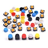 Cylewet 25pcs 12x 12x 7.3mm momentané Tact tactile Push Button Switch Interrupteur tactile Micro Switch 4broches SMD PCB avec capuchon pour Arduino (lot de 25) Clw1009