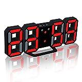 Eagsouni LED Numerique Réveil Alarme Horloge 3D Digital Pendule murale de Bureau Décorez Votre Maison, Affichage 12/24 Heures Luminance Réglable...