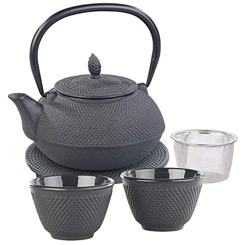 Rosenstein & Söhne Tee Set: Asiatische Teekanne, Untersetzer und 2 Becher aus Gusseisen, schwarz (Teekanne Guss)