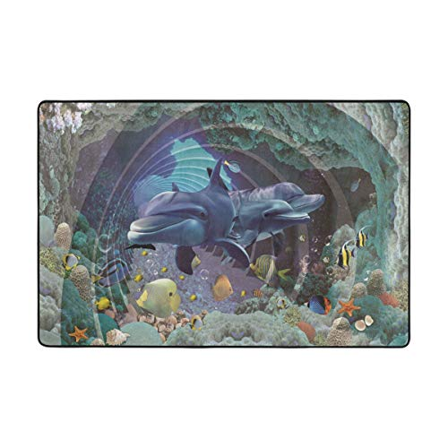 DEZIRO - Polyester mat with design of Dolphins of the Underwater World, polyester, 1, 36 x 24 Inch