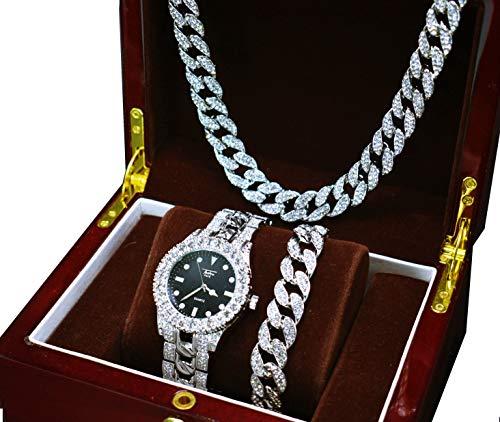 75ad7abf4591 Prisa Times 14 K oro blanco chapado Iced Out Techno Pave hombres reloj