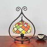 8 pulgadas de color creativo de la rejilla pastoral antigua de lujo Tiffany estilo hecho a mano lámpara de mesa de la lámpara Bedside Bed sala de luz de los niños