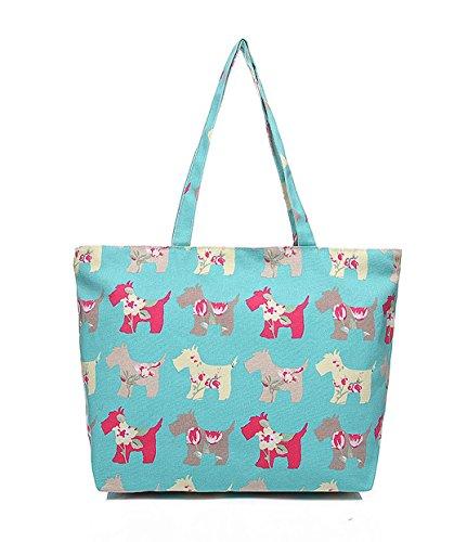 pimpanty; Shopper; poches, toile, chat, chien Oiseaux, rose (Multicolore) - 16-Tasche-0012-01 Tuerkis/Gruen