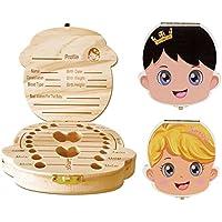 Nikgic 1pc Caja de dientes de bebé creativo Caja de dientes de madera Versión en Inglés de la caja de dientes de madera de Impresión en color