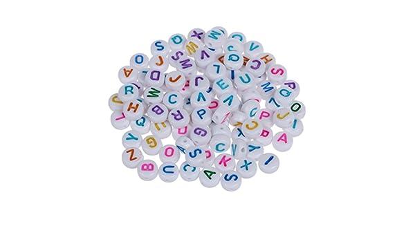 Perle di plastica R 200 lettera perline braccialetto perline di plastica rotondi TOOGOO