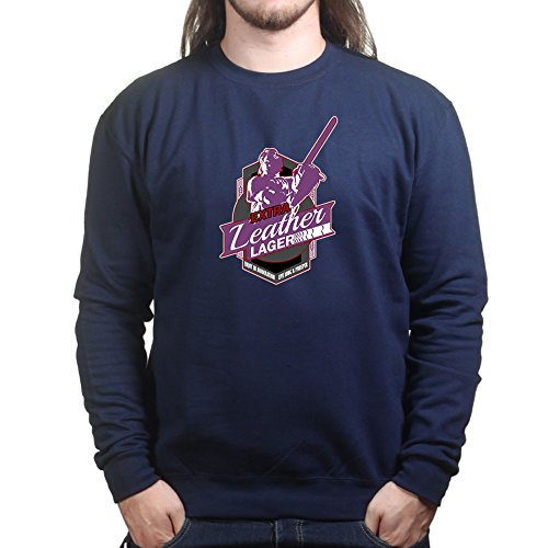 Mens Leatherface Lager Halloween Sweatshirt S Navy Blue (Maske Leatherface Halloween,)